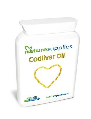 Codliver Oil Capsules 1000mg, Omega 3 Fatty Acids EPA and DHA - Naturesupplies