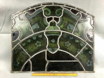 Antique Lead Stained Print Glass Window Gothic Architectural Salvage 19x23""