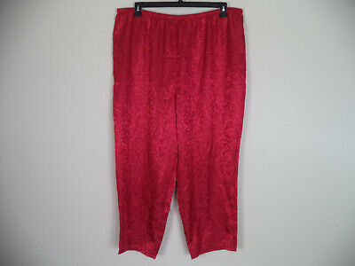 Women's Red Unbranded Damask Elastic/ Drawstring Casual Pant. 3XL. 100% Cotton.