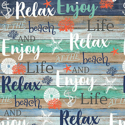 seaside Studio E coastal Beach words on shiplap 100/% cotton print fabric