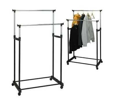 Garment Rack Double Silver Black Adjustable Portable Clothes Rail Stand