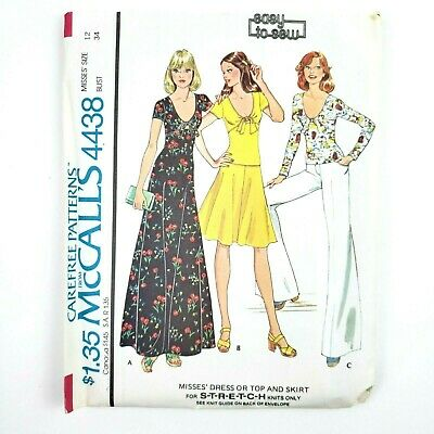 Vintage 1970s McCall Pattern 4438 Size 12 Bust 34 Misses Dress Top & Skirt