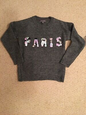 Primark Paris Grey Girls Jumper 9-10 Yrs