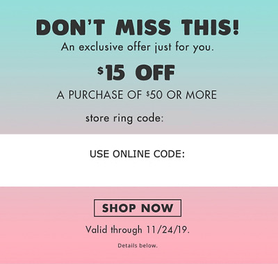 Justice Coupon $15 off $50 * Online and In-storethrough Nov 24, 2019