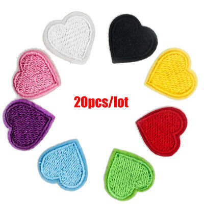 20pcs/lot Love Heart Sewing On Iron On Badge Appliques Patches Clothes Sticker