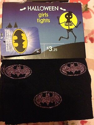 Girls Halloween Tights, Black With Pumpkins On. New