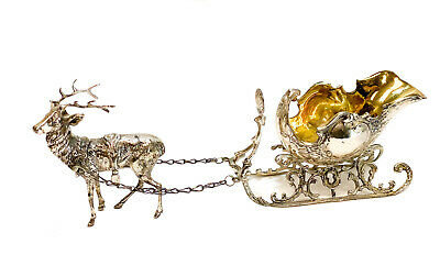 German 800 Silver Reindeer and Sleigh Figurine, circa 1920