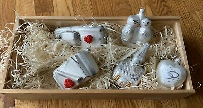 Lauscha Christmas Ornaments Glass Creation Wedding New in Box Lot Of 5  👀