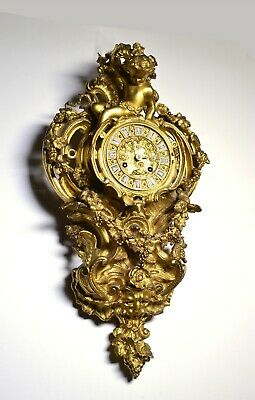 Baroque Ormolu Dore Gilt Bronze Wall Cartel Clock w Putto Grapes Lion by Japy