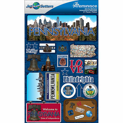 Jet Setters STATE Dimensional Stickers 4.5 Inch X 6.75 FLORIDA