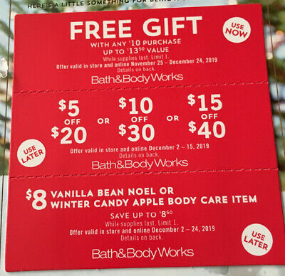 3 Bath & Body Works Coupons  $15off $40, Gift with Purchase BodyCare Item