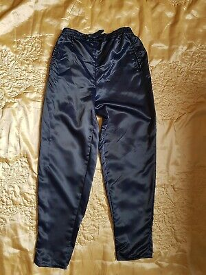 Vintage 80s 90s sports satin trousers size 10 streetwear high waisted tapered