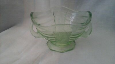 Bowl with elephant trunk handles, green pressed glass, Art Deco, Sowerby No.2614