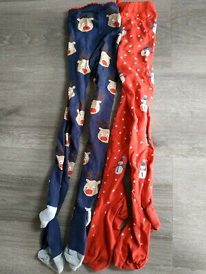 2 Pairs of Girls Next Christmas/Winter Tights Size 7-8 Years VGC