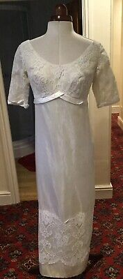 Vintage 1960'S Lace And Organza Ivory Wedding Dress
