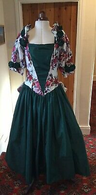 Vintage 1980'S Victorian Style Bottle Green Floral Bridesmaid Dress