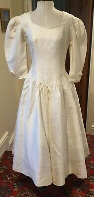 VINTAGE 1980's IVORY SILK WEDDING DRESS BY CLAIRE ROBERTON