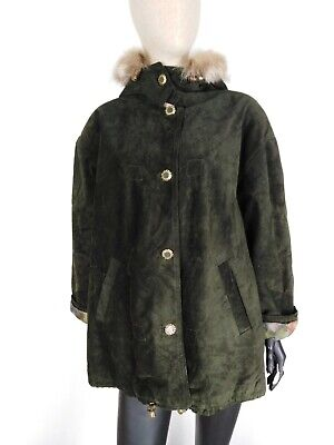 CARPELL TRENCH DI PELLE VINTAGE Cappotto Giubbotto Jacket Giacca Tg 44 Donna