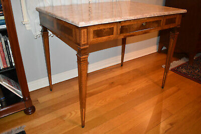Inlaid Marble Top Table or Desk - Rectangular - Late 19th Century