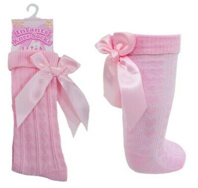 Brand New Girls Ribbon Bow  Knee High Socks Size 2 To 6 Years