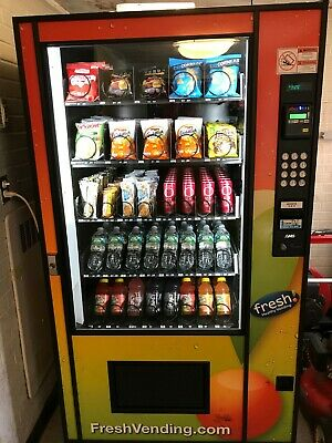 AMS Glass Front Combo Bottle/Snack Vending Machine Used