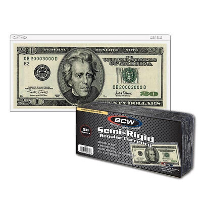 (50) Small Regular Us Bill Size Vinyl Semi-Rigid Currency Paper Money Holders