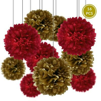 Chinese New Year Party Pack Tissue Paper Pom Pom Combo Set (16 pc Set)