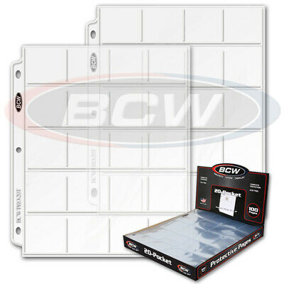 (50) Bcw 20 Pocket Coin Album Binder Pages - Holds 2X2 Coin Paper Flips