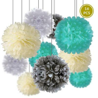 Wedding Party Pack Tissue Paper Pom Pom Combo Set (16 pc Set)