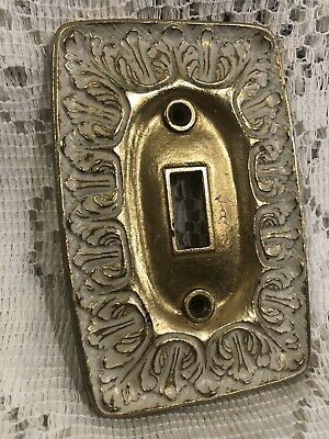 "LR-28847 National Lock 3 1/8"" White Ornate Gold Trim Brass Vintage Switch Plate"
