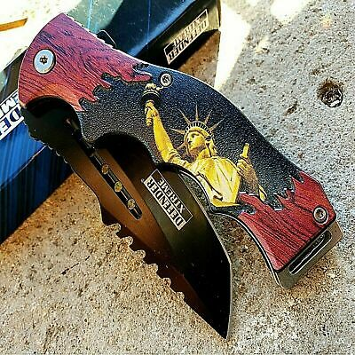 """8.5"""" Lady Liberty Wood TACTICAL Spring Assisted Open Pocket Knife FOLDING Blade"""