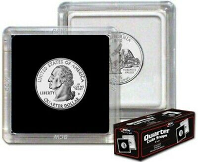 (1) Bcw Quarter 2X2 Two Piece Snap Clear Plastic Square Coin Storage Holder