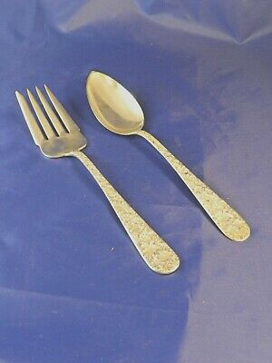 Antique S. Kirk & Son Sterling Repousse Serving Fork And Spoon Set