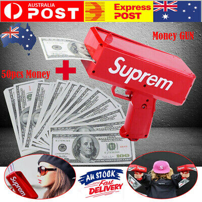 Novelty Cash Cannon Money Gun Make It Rain Money Gun Red Toys Gift + 50pcs Money