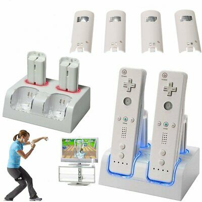 4x Batteries Pack Dual Remote Charger Dock Station for Nintendo Wii Controller