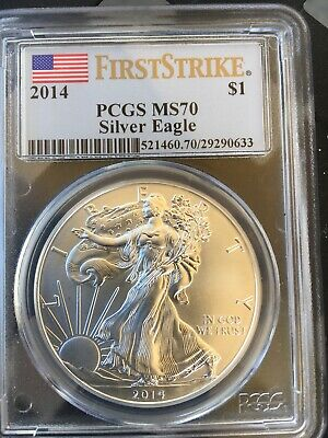 2014 PCGS MS 70 American Silver Eagle - FLAG Label First Strike - flawless