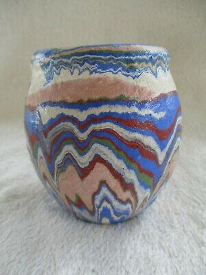 "Vintage Ozark Roadside Tourist Pottery 4 1/4"" vase, multi-color swirl."