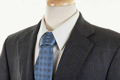 Bespoke NYC Sport Coat 46 L in Sapphire Blue Navy Check Wool x Saint Laurie