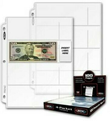 (10) Bcw 4 Pocket Small Currency Paper Money Bill Album Pages Storage Holders