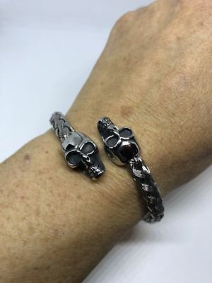 Silver Stainless Steel Gothic Skull Bangle Bracelet