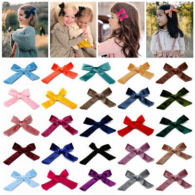 1PC Kids Velvet Knotted Bow Hair Clip Solid Color Baby Hairpin Girls Barrettes