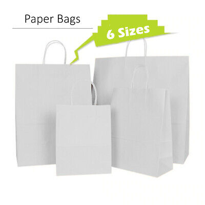 50 White Twist Handle Paper Party and Gift Carrier Bag / Bags Rope Handles With