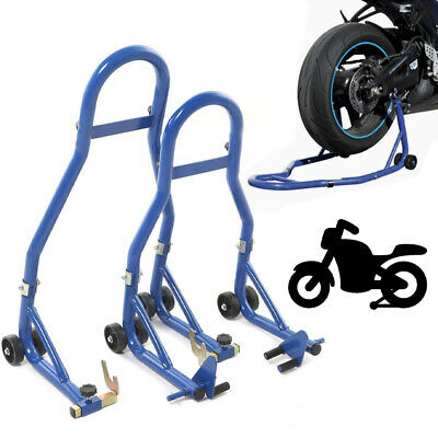 Motorcycle Motorbike Front fork & Rear Wheel Vee Paddock Stand Set for Bobbins