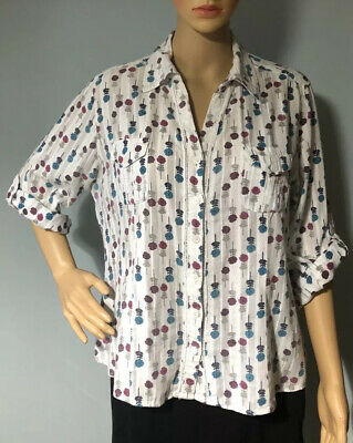Laura Ashley Womens Shirt Floral Uk Size 14 White Blue Mix Good Condition