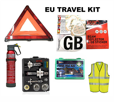 STYLARIZE® European Car Driving Set & GB Sticker Emergency Warning Triangle