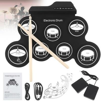 Electronic Digital USB 7 Pads Roll up Set Silicone Electric Drum Kit Drumstick
