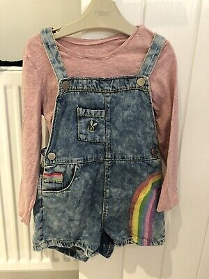 Next Girls 3-4 Years Rainbow Dungaree And Top Outfit