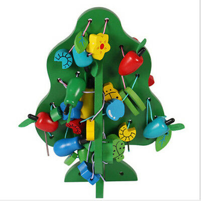 Tree Shape Wooden Stringing Threading Beads Fruit Learning Educational Toy Z
