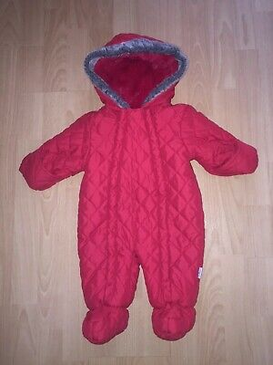 Junior J Jasper Conran Baby Boy Or Girl Red Quilted Snowsuit All In 1 Coat 3-6m