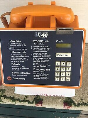 GOLD PAY PHONE - TELECOM - COIN OPERATED - With Built In Phone Book Holder